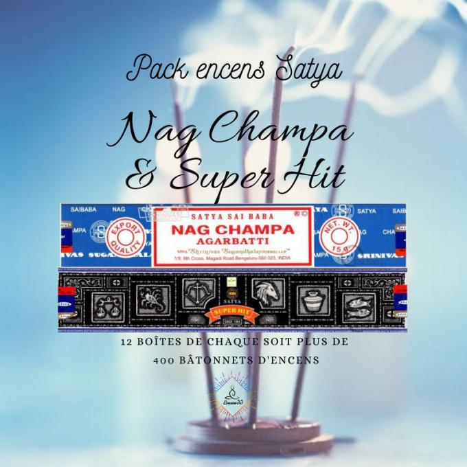 Pack Encens Satya Nag Champa et Super Hit